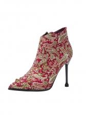 Vintage Printed Rhinestone Pointed Ankle Boots