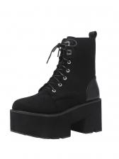Punk Lace Up Platform Chunky Heel Boots