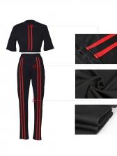 Line Patchwork Short Sleeve Cropped 2 Piece Pants Set