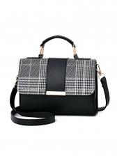Patchwork Houndstooth Hasp Shoulder Bags For Women