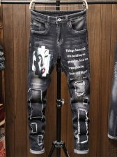 Slim Fit Patch Letter Printed Ripped Jeans