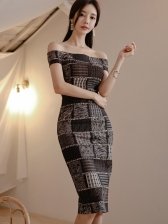 Boat Neck Contrast Color Bodycon Dress For Women