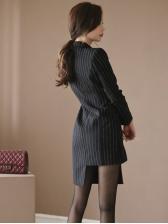 Lapel Collar Striped Irregular Black Blazer Dress