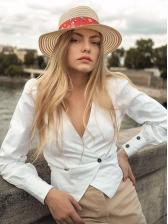 Vintage Long Sleeve V Neck White Blouse