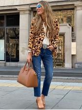 Leopard Print Long Sleeve Ladies Blazer