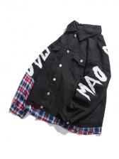 Plaid Patchwork Pockets Loose Winter Jacket