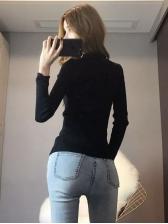 Mandarin Collar Solid Color Long Sleeve Cotton T Shirt