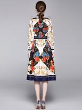Vintage Style Printed Large Hem Shirt Dress