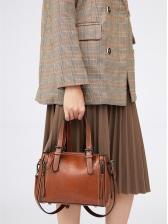 Ol Style Multiple Zipper Solid Pu Ladies Shoulder Bag