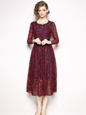 Vintage Style Print Long Sleeve Lace Dress