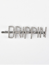 Stylish Shinny Letter Rhinestone Hair Clips