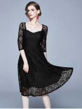 Sweat-Heart Collar Large Hem Lace Dress