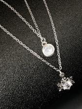 Rhinestone Snowflake Pendant Double-Layer Necklace
