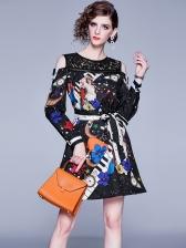 Cold Shoulder Exquisite Printed Black Ladies Dress