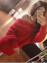 Boat Neck Smart Waist Mink Wool Sweater Dress