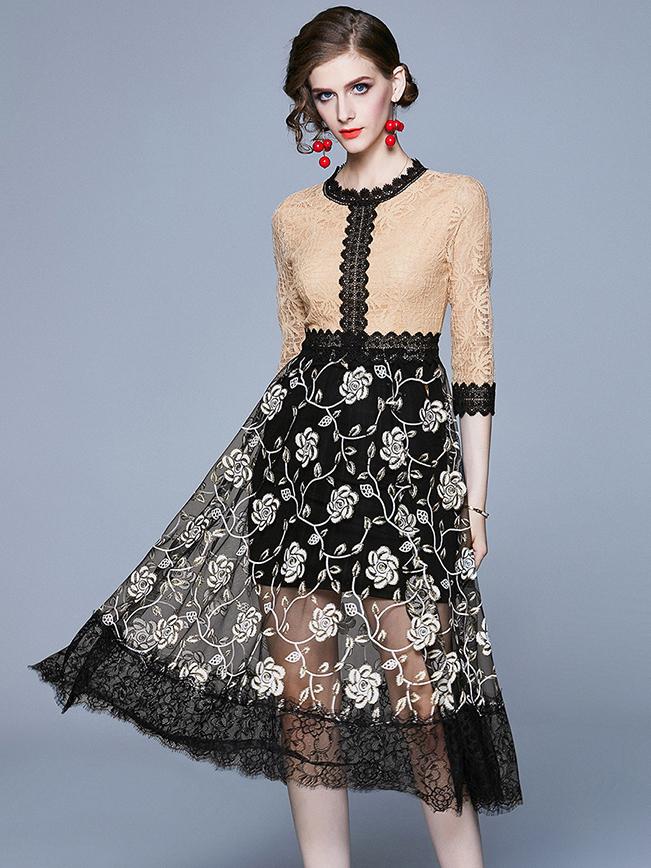 Elegant Lace Patchwork Long Sleeve Midi Dress