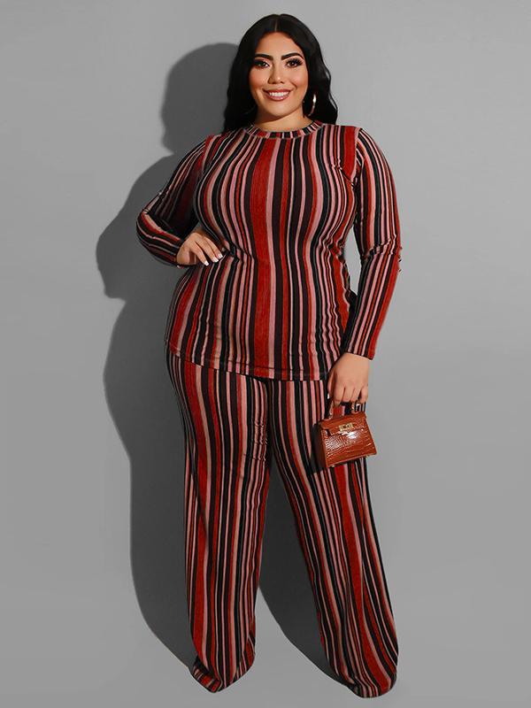 Plus Size Wide Leg Multicolored Striped 2 Piece Pants Set
