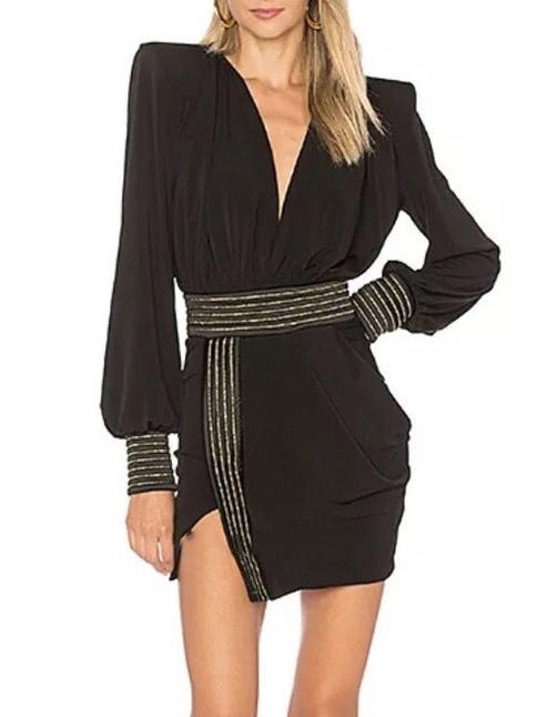 Boutique Empire Waist Lantern Long Sleeve Mini Dress