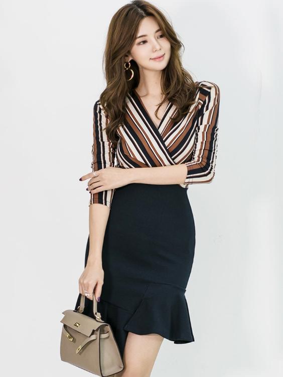 Graceful Striped Fishtail Pattern Dresses For Women