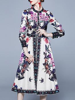 Graceful Single-Breasted Long Sleeve Midi Dress