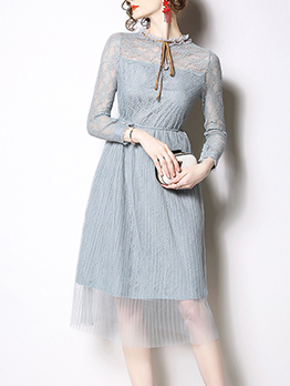 Graceful Elastic Waisted Long Sleeve Lace Dress