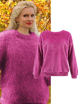 Crew Neck Solid Long Sleeve Fuzzy Sweater