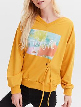 V Neck Printed Bright Yellow Sweatshirts For Women