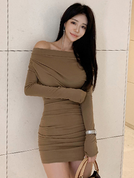 Boat Neck Long Sleeve Bodycon Dress For Women
