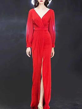 V Neck High Split Hem Special Occasion Dresses