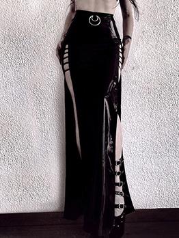 PU Zipper Up Long Split Black Skirt