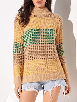 Contrast Color Crochet Mock Neck Ladies Sweater