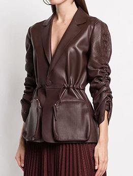 PU Pleated Sleeve Pocket Turndown Collar Ladies Coat