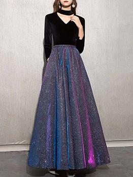 Elegant Glitter Long Sleeve Evening Dresses