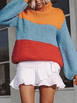 Contrast Color Lantern Sleeve Turtleneck Sweater
