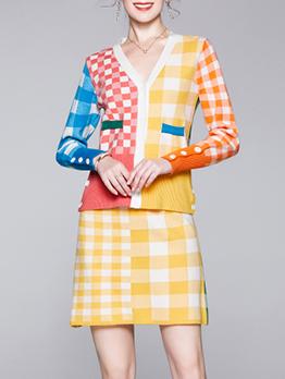 V Neck Button Up Color Block Plaid 2 Piece Skirt Set