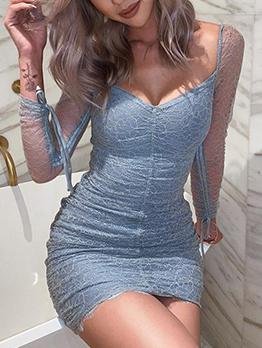 V Neck Blue Glitter Draped Long Sleeve Bodycon Dress