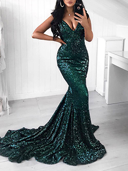 Deep V Neck Floor-Length Sequin Evening Dress