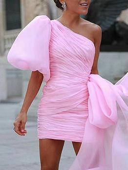 Euro Lantern Sleeve Irregular Gauze Cocktail Party Dress