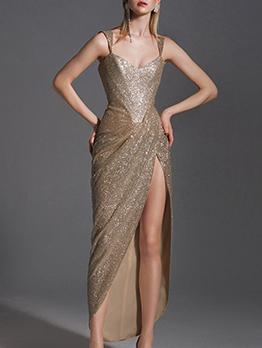 High-End Fitted Split Hem Gold Formal Dresses