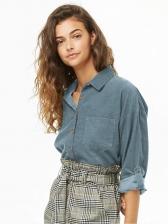 Corduroy Long Sleeve Solid Ladies Blouse
