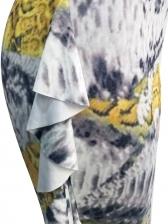Printed Ruffled Long Sleeve Wide Leg Jumpsuit