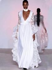 boutique V Neck See Through Long Evening Dress