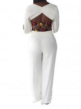 V Neck Backless Split Sleeves White Two Piece Set