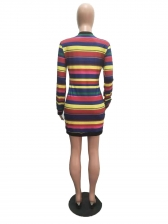 Colorful Striped With Cloak Two Piece Dress Set