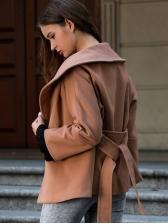 Minimalist Turndown Neck Tie-Wrap Solid Short Coat