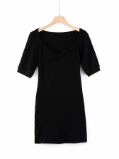 Retro Ribbing Solid Short Sleeve Dress