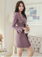 Double-Breasted Ruffled Hem Blazer Dress