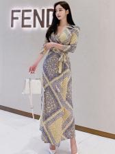 Elegant Contrast Color Long Sleeve Maxi Dress