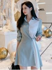 Contrast Color Button Down Female Shirt Dress