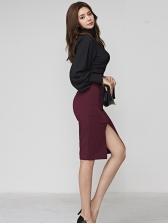 Ol Style Lantern Sleeve Fitted 2 Piece Split Skirt Set